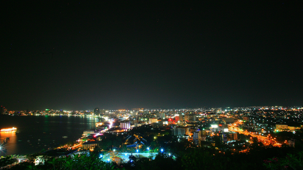 Night time view of Pattaya from Phratamnak Hill viewpoint